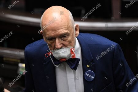 Far-right Confederation leader Janusz Korwin-Mikke looks on in the meeting room during the second day of the 11th sitting of the Sejm (lower house of parliament) in the Polish Parliament building in Warsaw, Poland, 30 April 2020.