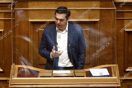 Greek leader of main opposition SYRIZA party, Alexis Tsipras delivers a speech at the Greek Parliament during a plenary debate on the economic repercussions of the COVID-19 pandemic, in Athens, Greece, 30 April 2020.The government's measures to address the coronavirus' economic impact dominate a debate in the plenary session of Parliament.