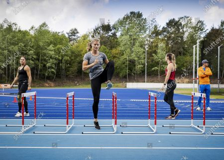 Dutch athletes (L-R) Naomi Sedney, Dafne Schippers and Nadine Visser train during the reopening of the Papendal sports center in Arnhem, The Netherlands, 30 April 2020, during the coronavirus (COVID-19) pandemic. A group of selected individual elite athletes have been welcomed to start training in small controlled groups and under strict observance of the RIVM (Netherlands National Institute for Public Health and the Environment) guidelines.