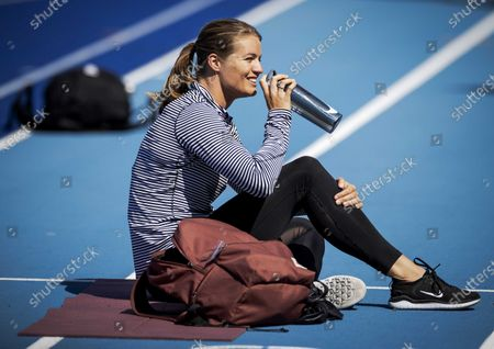 Dutch athlete Dafne Schippers takes a break during her training at the re-opened sports center Papendalin in Arnhem, The Netherlands, 30 April 2020. A selected group of individual elite athletes is allowed to resume training in small controlled groups and under strict observance of the RIVM (Netherlands National Institute for Public Health and the Environment) guidelines amid the COVID-19 coronavirus pandemic.