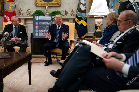 President Donald Trump speaks during a meeting about the coronavirus response with Gov. Phil Murphy, D-N.J., in the Oval Office of the White House, in Washington. From left, Murphy, Trump, White House coronavirus response coordinator Dr. Deborah Birx, and White House chief economic adviser Larry Kudlow