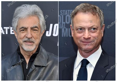 """This combination photo shows actors Joe Mantegna at a special screening of """"John Wick: Chapter 3 - Parabellum"""" in Los Angeles, left, and Gary Sinise at the Los Angeles Dinner: What You Do Matters at the Beverly Hilton Hotel in Beverly Hills, Calif. on March 16, 2015 photo. Mantegna and Sinise will host PBS' annual Memorial Day weekend concert"""