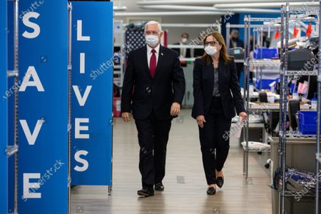 Vice President Mike Pence tours the General Motors/Ventec ventilator production facility with GM CEO and Chairman Mary Barra in Kokomo, Ind