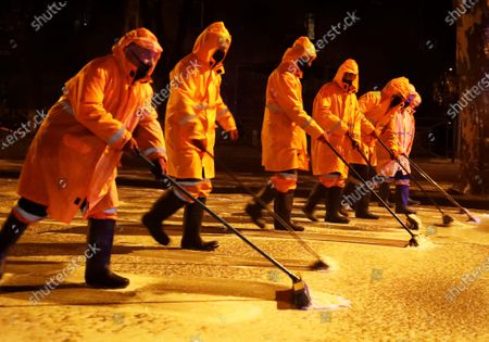 Workers disinfect a street during the ongoing coronavirus COVID-19 pandemic in Tbilisi, Georgia, 30 April 2020. Countries around the world are taking increased measures to stem the widespread of the SARS-CoV-2 coronavirus which causes the COVID-19 disease.