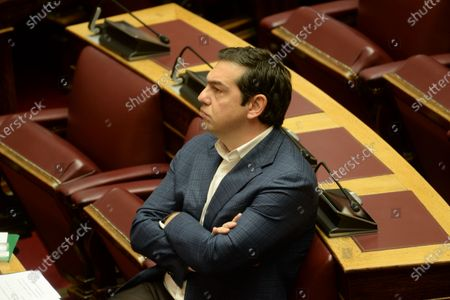 President of Syriza Alexis Tsipras, during the session in Hellenic Parliament.
