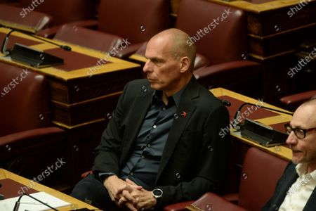Stock Photo of Yianis Varoufakis Secretary of Mera 25 party, during the session of Hellenic Parliament.