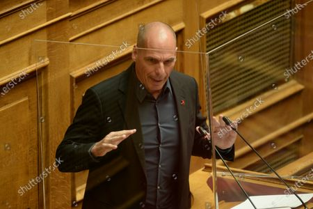 Stock Image of Yianis Varoufakis Secretary of Mera 25 party, during his speech in Hellenic Parliament.