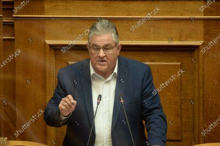 Stock Picture of Dimitris Koutsoumpas general Secretary of Greek Communist Party, during his speech in Hellenic parliament.