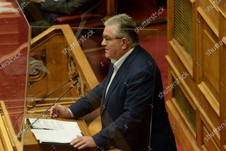 Dimitris Koutsoumpas general Secretary of Greek Communist Party, during his speech in Hellenic parliament.