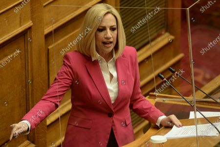 Fofi Gennimata, President of KINAL, during her speech in Hellenic Parliament.