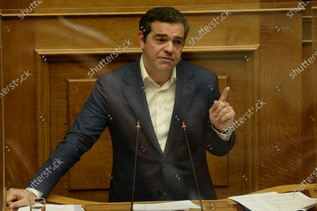 President of Syriza Alexis Tsipras, during his speech in Hellenic Parliament.