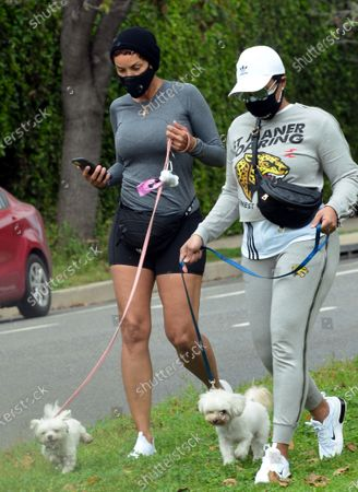Stock Picture of Nicole Murphy and Bria L Murphy out and about walking their dogs during quarantine