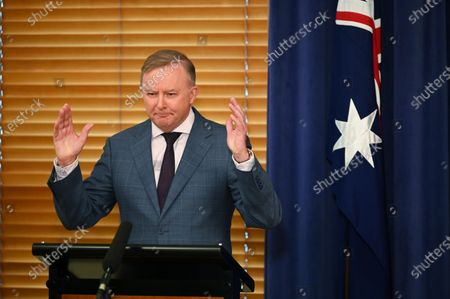 Australian Opposition Leader Anthony Albanese speaks to the media during press conference with preselection candidate for the seat of Eden-Monaro Kristy McBain (not pictured) at Parliament House in Canberra, Australia, 01 May 2020. Albanese is endorcing McBain in the upcoming Eden-Monaro by-election.