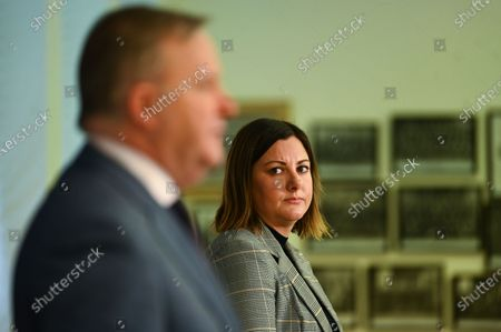 Labor candidate for preselection for the seat of Eden-Monaro Kristy McBain (R) looks on as Australian Opposition Leader Anthony Albanese (L) speaks during a press conference at Parliament House, Australia, 01 May 2020. Albanese is endorcing McBain in the upcoming Eden-Monaro by-election.