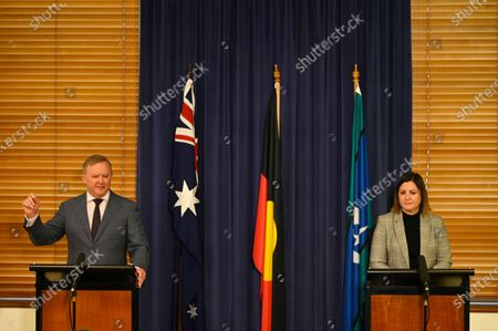 Australian Opposition Leader Anthony Albanese (L) and Labor candidate for preselection for the seat of Eden-Monaro Kristy McBain (R) speak during a press conference at Parliament House in Canberra, Australia, 01 May 2020. Albanese is endorcing McBain in the upcoming Eden-Monaro by-election.