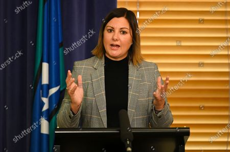 Labor candidate for preselection for the seat of Eden-Monaro Kristy McBain speaks during a press conference at Parliament House in Canberra, Australia, 01 May 2020. Opposition Leader Anthony Albanese is endorcing McBain in the upcoming Eden-Monaro by-election.