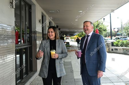 Australian Opposition Leader Anthony Albanese (R) and Labor candidate for preselection for the seat of Eden-Monaro Kristy McBain (L) drink a smoothy drink at a cafe in Queanbeyan, Australia, 01 May 2020. Albanese is endorcing McBain in the upcoming Eden-Monaro by-election.