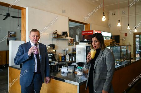 Australian Opposition Leader Anthony Albanese (L) and Labor candidate for preselection for the seat of Eden-Monaro Kristy McBain (R) drink a smoothy drink at a cafe in Queanbeyan, Australia, 01 May 2020. Albanese is endorcing McBain in the upcoming Eden-Monaro by-election.