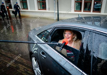 Dutch State Secretary for Security and Justice Ankie Broekers-Knol talks to members of the media (out of frame) from inside a vehicle upon her arrival at the Binnenhof to attend the weekly Council of Ministers in The Hague, The Netherland, 01 May 2020, during the coronavirus disease (COVID-19) pandemic.