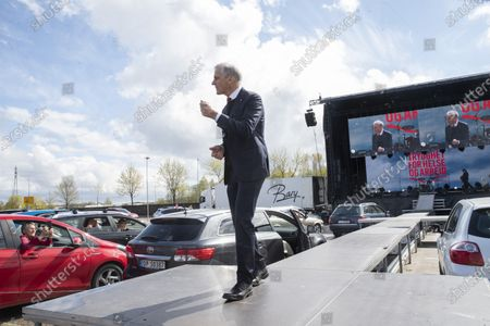 The leader of Norway's social-democratic Labor Party, Jonas Gahr Store, holds a speech during a drive-in May Day rally in Lillestrom, near Oslo, Norway, 01 May 2020. The first day of May is celebrated worldwide as International Workers' Day, which commemorates the 1886 Haymarket Square labor strike and subsequent riots in Chicago, Illinois, USA. This year, May Day takes place amid the global pandemic of the COVID-19 disease caused by the SARS-CoV-2 coronavirus.