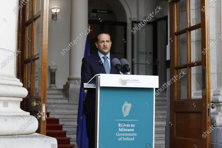 Irish Prime Minister Taoiseach Leo Varadkar addresses the public on steps to ease the existing Covid-19 restrictions at the steps of Government Buildings in Dublin, Ireland, 01 May 2020.  Current restrictions will be extended until 18 May.
