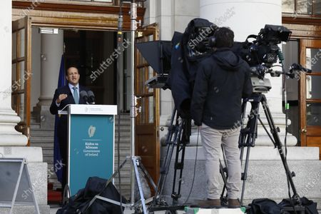Stock Image of Irish Prime Minister Taoiseach Leo Varadkar addresses the public on steps to ease the existing Covid-19 restrictions at the steps of Government Buildings in Dublin, Ireland, 01 May 2020.  Current restrictions will be extended until 18 May.