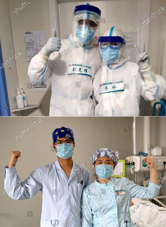 """Combo photo shows nurses Liu Guangyao (L) and Qiao Bing in protective suits gesturing before work at Tongji Hospital in Wuhan, central China's Hubei Province (upper, undated photo) and Liu (L) and Qiao gesturing at the Third People's Hospital of Henan in Zhengzhou, central China's Henan Province, April 26, 2020 (lower, taken by Li An). Liu Guangyao and Qiao Bing are both the hospital's ICU nurses, who are a pair of lovers born in 1990s.     After the COVID-19 pandemic outbreak, both of them filed for aiding the fight against the disease in the hardest-hit Wuhan, capital of central China's Hubei.     On Feb. 2, Liu and Qiao, both included in a provincial Wuhan-aiding medical team, left Henan for the city where they battled the novel coronavirus at local Tongji Hospital for nearly two months.    They originally planned to get engaged on Feb. 9, but obviously they couldn't do it due to the critical work. Unwilling to miss that special day, however, Liu made a simple ring with a clip and proposed marriage to Qiao on that day.     After returning from Wuhan, Liu and Qiao went through a 14-day quarantine, and went back to their nursing work.     """"After those unforgettable experiences in Wuhan, we both gained a deeper insight into our work now and would cherish our life more in the future. We have also planned to get married late this year or early in the next year,"""" said Li."""