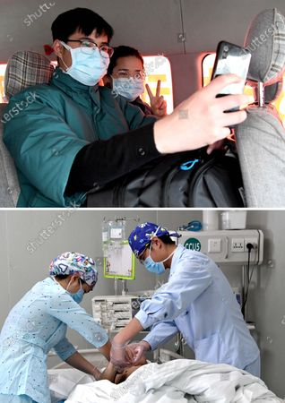 """Combo photo shows nurses Liu Guangyao (L) and Qiao Bing taking a selfie before leaving for Wuhan (upper, taken on Feb. 2, 2020) and Liu (R) and Qiao taking care of a patient at an ICU ward of the Third People's Hospital of Henan (lower, taken on April 26, 2020), in Zhengzhou, central China's Henan Province. Liu Guangyao and Qiao Bing are both the hospital's ICU nurses, who are a pair of lovers born in 1990s.     After the COVID-19 pandemic outbreak, both of them filed for aiding the fight against the disease in the hardest-hit Wuhan, capital of central China's Hubei.     On Feb. 2, Liu and Qiao, both included in a provincial Wuhan-aiding medical team, left Henan for the city where they battled the novel coronavirus at local Tongji Hospital for nearly two months.    They originally planned to get engaged on Feb. 9, but obviously they couldn't do it due to the critical work. Unwilling to miss that special day, however, Liu made a simple ring with a clip and proposed marriage to Qiao on that day.     After returning from Wuhan, Liu and Qiao went through a 14-day quarantine, and went back to their nursing work.     """"After those unforgettable experiences in Wuhan, we both gained a deeper insight into our work now and would cherish our life more in the future. We have also planned to get married late this year or early in the next year,"""" said Li."""