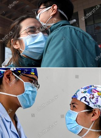 """Combo photo shows nurses Liu Guangyao (R) and Qiao Bing hugging before leaving for Wuhan (upper, taken on Feb. 2, 2020) and Liu (L) and Qiao communicating during work break at the Third People's Hospital of Henan (lower, taken on April 26, 2020), in Zhengzhou, central China's Henan Province. Liu Guangyao and Qiao Bing are both the hospital's ICU nurses, who are a pair of lovers born in 1990s.     After the COVID-19 pandemic outbreak, both of them filed for aiding the fight against the disease in the hardest-hit Wuhan, capital of central China's Hubei.     On Feb. 2, Liu and Qiao, both included in a provincial Wuhan-aiding medical team, left Henan for the city where they battled the novel coronavirus at local Tongji Hospital for nearly two months.    They originally planned to get engaged on Feb. 9, but obviously they couldn't do it due to the critical work. Unwilling to miss that special day, however, Liu made a simple ring with a clip and proposed marriage to Qiao on that day.     After returning from Wuhan, Liu and Qiao went through a 14-day quarantine, and went back to their nursing work.     """"After those unforgettable experiences in Wuhan, we both gained a deeper insight into our work now and would cherish our life more in the future. We have also planned to get married late this year or early in the next year,"""" said Li."""