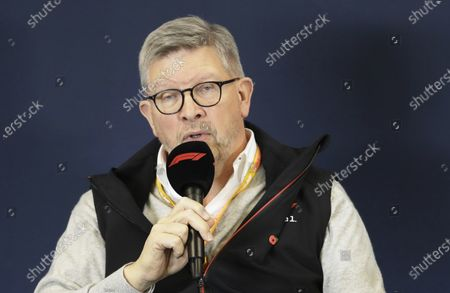 """Manager director of motorsports Ross Brawn speaks during a news conference at the Formula One U.S. Grand Prix auto race at the Circuit of the Americas, in Austin, Texas. Formula One hopes to finally start the season with a double-header in the naturally isolated environment around the venue for the Austrian Grand Prix. Brawn says this is a """"real consideration"""" so long as iron-tight safety regulations are met"""
