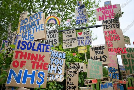 Signs of support for key workers during the Covid-19 pandemic which are part of an artwork by Peter Liversidge are displayed on a road in east London in Britain, 03 May 2020. Countries around the world are taking increased measures to stem the widespread of the SARS-CoV-2 coronavirus which causes the Covid-19 disease.
