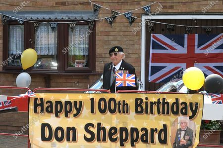 Keeping two meters apart Don at home. D-Day veteran Don Sheppard celebrates his 100th Birthday at his home in Basildon Essex. The former Royal Engineers Sapper arrived on Juno beach on 6th June 1944 with the 155 Brigade Highland Division on a landing craft with his Bren gun equipped scout car. D-Day was not the first time Don had seen action as he had previously served in North Africa and Sicily. After breaking through enemy lines in August 1944 he continued through Belgium, Holland and eventually Germany where he was involved in the liberation of prisoners in the Bergen-Belsen concentration camp. Mr Sheppard confesses he was extremely fortunate to be only wounded once when taking cover from enemy bombing, in 2008 during a scan at Basildon Hospital it was found that a piece of shrapnel had sat in his lung undetected for 64 years from this incident.