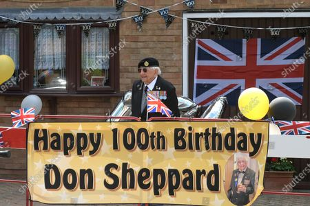 D-Day veteran Don Sheppard celebrates his 100th Birthday at his home in Basildon Essex. The former Royal Engineers Sapper arrived on Juno beach on 6th June 1944 with the 155 Brigade Highland Division on a landing craft with his Bren gun equipped scout car. D-Day was not the first time Don had seen action as he had previously served in North Africa and Sicily. After breaking through enemy lines in August 1944 he continued through Belgium, Holland and eventually Germany where he was involved in the liberation of prisoners in the Bergen-Belsen concentration camp. Mr Sheppard confesses he was extremely fortunate to be only wounded once when taking cover from enemy bombing, in 2008 during a scan at Basildon Hospital it was found that a piece of shrapnel had sat in his lung undetected for 64 years from this incident.