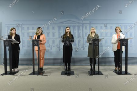 Stock Photo of Education minister Li Andersson (L), Finance Minister Katri Kulmuni, Prime Minister Sanna Marin, Interior Minister Maria Ohisalo and Justice Minister Anna-Maja Henriksson during a press conference of the Finnish Government on the coronavirus situation in Helsinki, Finland, on May 4, 2020.