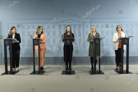 Education minister Li Andersson (L), Finance Minister Katri Kulmuni, Prime Minister Sanna Marin, Interior Minister Maria Ohisalo and Justice Minister Anna-Maja Henriksson during a press conference of the Finnish Government on the coronavirus situation in Helsinki, Finland, on May 4, 2020.
