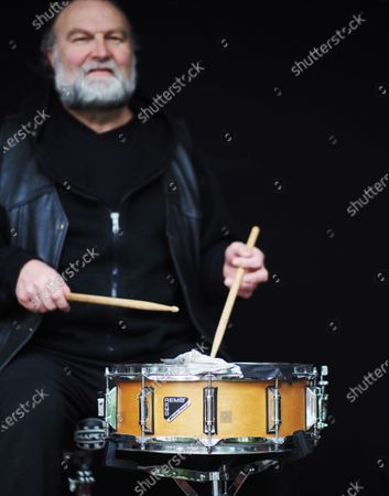 Exclusive - Musician Stanley Mitchell with his snare drum. A regular on the Brooklyn club scene for many years, Stan misses playing music with his friends, but every night at 7pm he takes his drums to the sidewalk in front of his house and plays to salute all of the healthcare workers and those on the frontline of the fight against the Coronavirus.
