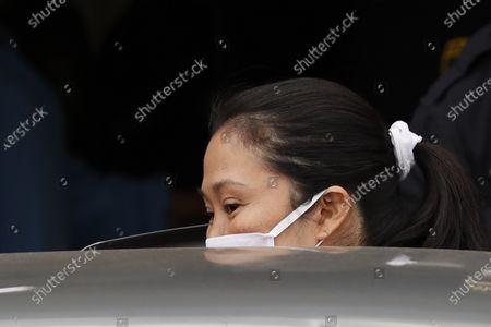 Stock Picture of Keiko Fujimori as she departs from the Santa Monica prison in Lima, Peru, 04 May 2020. Peruvian opposition leader Keiko Fujimori, investigated for alleged illegal contributions from the Brazilian company Odebrecht, announced on Monday that she will not live with her family until she receives the result of the COVID-19 test to which she will submit. The Peruvian Prosecutor's Office announced last Friday that it will file a cassation appeal to reverse Fujimori's release, after the Criminal Appeals Chamber Specialized in Organized Crime annulled the 15-month preventive detention handed down last January against Keiko Fujimori, the founder of the Fuerza Popular party.
