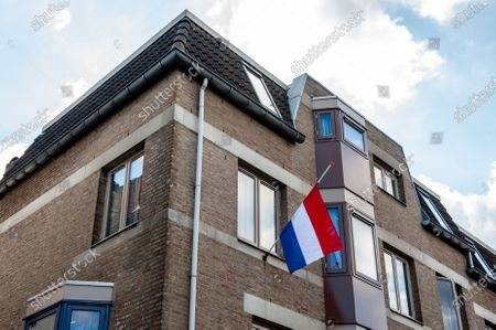 """A Dutch flag is seen hanged out during the ceremony. The commemorations took place at the """"Kitty de Wijze"""", a monument that  has become the symbol of the Jewish in Nijmegen who were deported and never come back. This year because of the current situation, the ceremony was held without an audience, just with the presence of Rabbi M. Levin and Mayor of Nijmegen Hubert Brushwood is also the chairman of the Security Council in the country. The memorial service in the Sint Stevens church was canceled this year."""