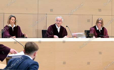 The 6th Civil Senate at the Federal Court of Justice (BGH), (L-R) Vera von Pentz, Stephan Seiters (Chairman) und Christiane Oehler, opens the hearing on a lawsuit against the car manufacturer Volkswagen in the diesel scandal at the Federal Supreme Court (BGH) in Karlsruhe, Germany, 05 May 2020. The 6th Civil Senate is hearing a lawsuit against the car manufacturer VW in the diesel scandal about compensation for damages for manipulated diesel vehicles. The plaintiff Herbert Gilbert wants to return the used car he bought in 2014 to Volkswagen and be reimbursed the full price of around 31,500 euros.