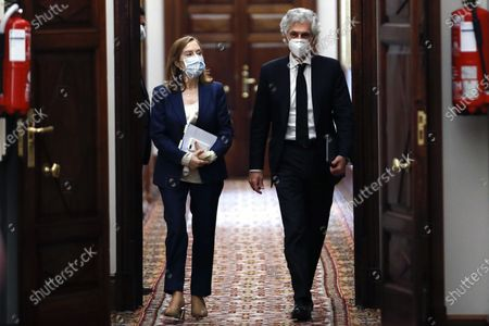 Stock Picture of Ana Pastor (L), the Deputy Speaker of Spain's Congress of Deputies (lower house of Parliament), wears a face mask as she and her colleague Adolfo Suarez Illana (R), a congressman representing the right-wing Popular Party (PP), arrive for a meeting of the chamber's Board in Madrid, Spain, 05 May 2020. Spain has begun loosening some of the strict movement restrictions it had implemented in a bid to slow down the spread of the pandemic COVID-19 disease caused by the SARS-CoV-2 coronavirus. People are now allowed to leave their home confinements during certain time windows to go for a walk or do exercise, though the state of emergency and general lockdown remain in place. The Spanish parliament will soon vote whether to grant the government's planned extension of the current state of emergency.