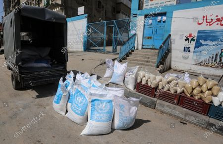 Editorial picture of This picture taken on March 23, 2020 shows a view close the food distribution centers, Khan Younis, Palestinian Territory - 23 Mar 2020