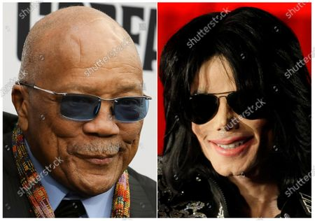 """This combination photo shows Quincy Jones at the world premiere of """"Black Godfather"""" in Los Angeles on June 3, 2019, left, and Michael Jackson at a press conference in London on March 5, 2009. On, a California appeals court overturned most of a 2017 jury verdict awarding Jones $9.4 million from the Michael Jackson estate. A jury had granted Jones the sum for the use of Jackson hits he produced that appeared in the concert film """"This Is It"""" and Cirque du Soleil shows. But California's 2nd District Court of Appeal ruled that the jury misinterpreted a contract and took away some $6.9 million that jurors had said Jones was owed"""