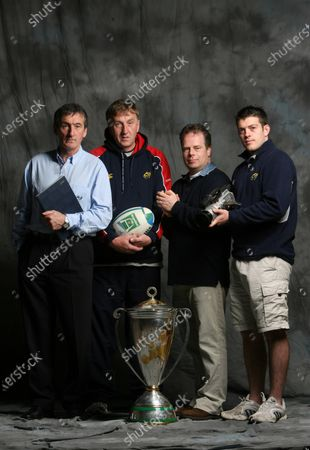 Stock Photo of Munster Rugby Heineken Cup Winners Feature 24/5/2006. Operations team Pat Geraghty, Jack Kiely, Brian Murphy and George Murray