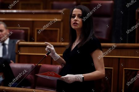 Spanish Ciudadanos (Citizens) party's leader Ines Arrimadas delivers a speech during a plenary session at Lower Chamber of Spanish Parliament, in Madrid, Spain, 06 May 2020. Spanish Prime Minister, Pedro Sanchez back to Congress of Deputies to achieve the fourth extension of the emergency state to carry out the de-escalation plan amid COVID-19 pandemic.