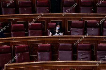 Ciudadanos (Citizens) party's leader Ines Arrimadas attends a plenary session at Lower Chamber of Spanish Parliament, in Madrid, Spain, 06 May 2020. Spanish PM Pedro Sanchez comes back to Congress of Deputies to achieve the fourth extension of the emergency state to carry out the de-escalation plan amid COVID-19 pandemic.