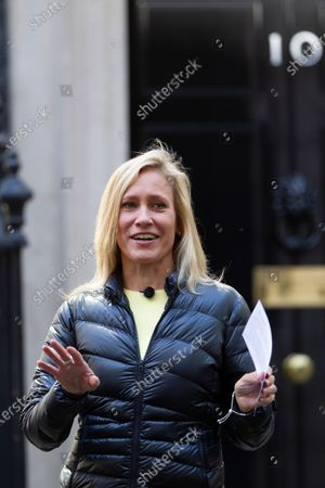 Sophie Raworth ; BBC News at Ten presenter outside No.10 Downing Street hosting a VE Day show