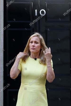 Stock Picture of Sophie Raworth ; BBC News at Ten presenter outside No.10 Downing Street hosting a VE Day show