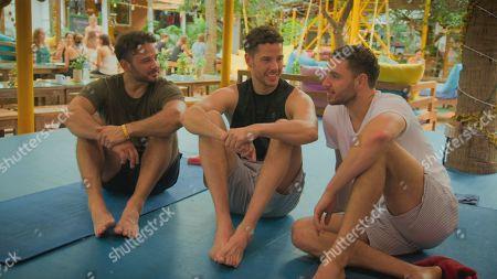 Ryan Thomas, Scott Thomas and Adam Thomas at a yoga retreat.