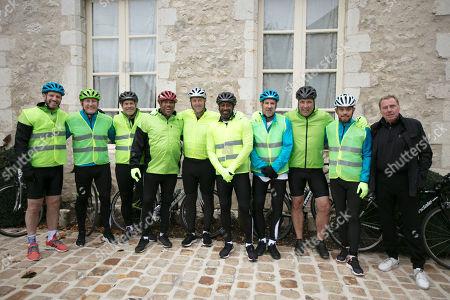 (l-r) Lee Sharpe, Ray Parlour, Rob Lee, John Barnes, Matt Le Tissier, Mark Chamberlain Paul Merson, David Seaman, Lee Hendrie and Harry Redknapp prepare to go on a bike ride