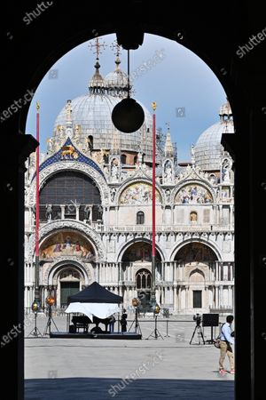 Editorial picture of Piazza San Marco closed for a video appeal by Zucchero, Venice, Italy - 02 May 2020
